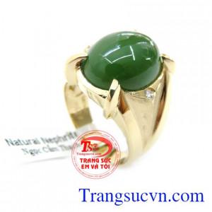 Nhẫn Nam Vàng 14K Gắn Đá Ngọc Bích Thiên Nhiên