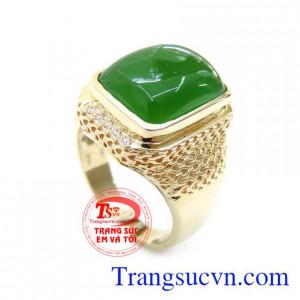 Nhẫn Vẩy Rồng Gắn Đá Nephrite Phong Thủy