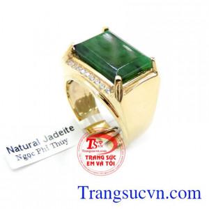 Nhẫn Ngọc Cẩm Thạch Vàng 14K Cho Nam