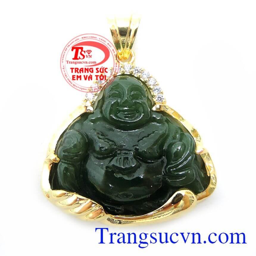 Ngọc Nephrite Phật Di Lặc Bọc Vàng