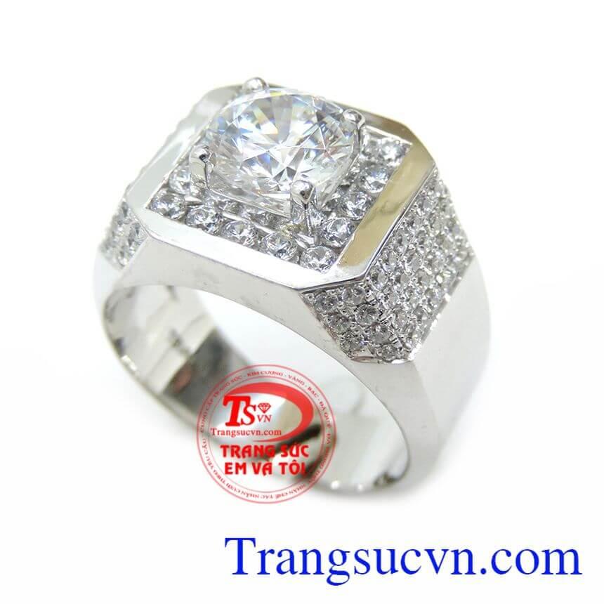 Nhẫn vàng trắng nam 10k bảo hành 6 tháng,giao toàn quốc,Nhẫn vàng trắng nam món quà dành cho nam rất yêu thích.