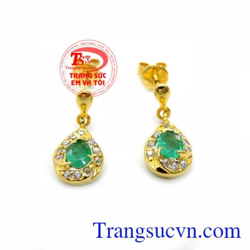 Hoa Tai Vàng 18K Emeral Quyền Quý