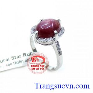 Nhẫn Nữ Vàng Trắng Gắn Đá Ruby Sao Thiên Nhiên