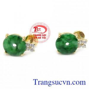 Hoa Tai Jadeite Vàng 14K
