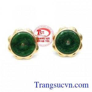 Hoa Tai Vàng 14K Ngọc Cẩm Thạch Quý Phái