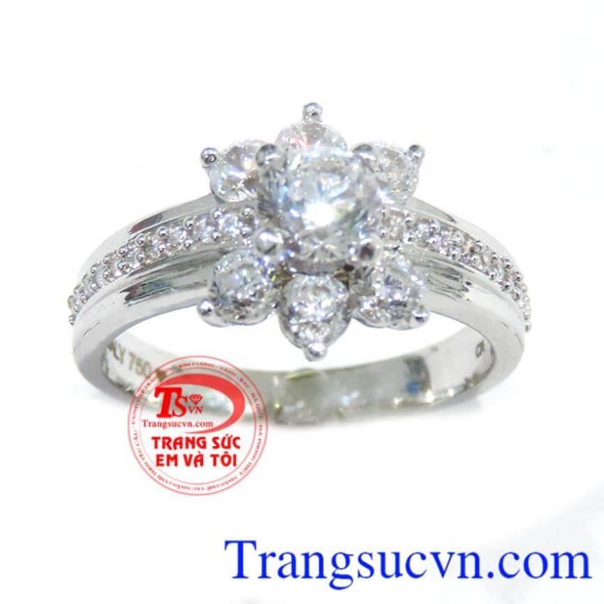 Nhẫn vàng 18k trắng cho nữ
