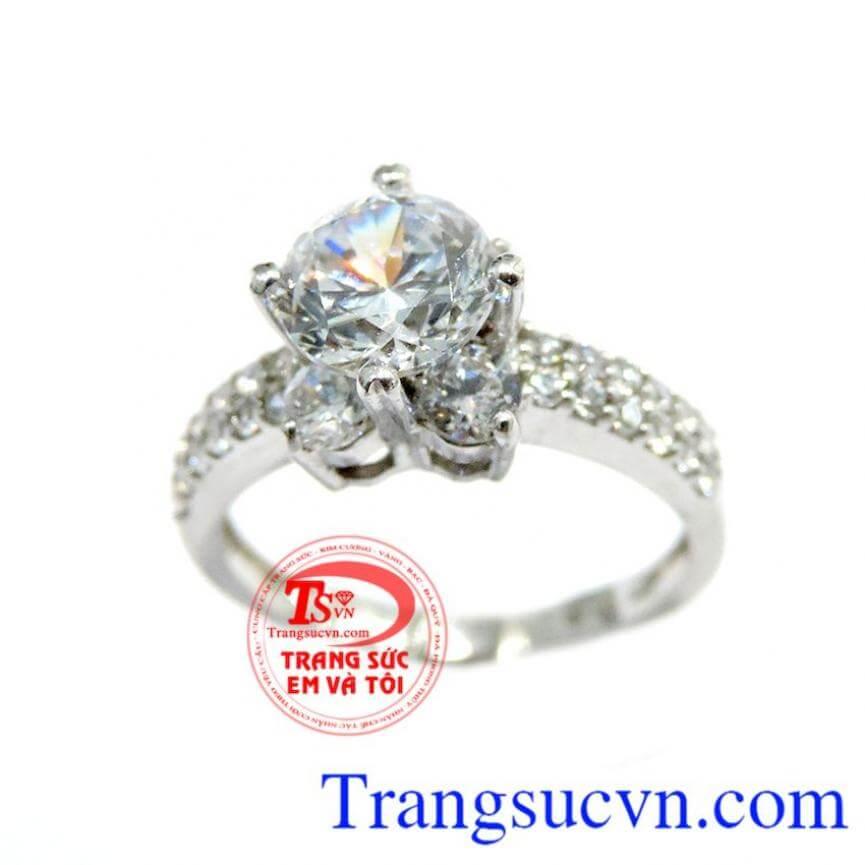 Nhẫn vàng trắng Ý 18k