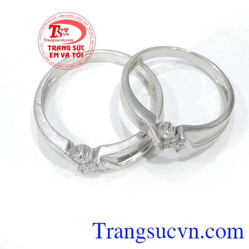 Đôi nhẫn cưới 18k trắng