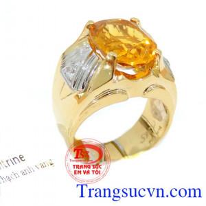 Nhẫn nam vàng 14k citrine