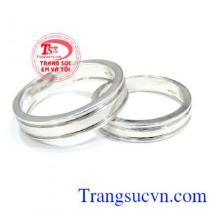 Nhẫn cưới trơn vàng trắng 18k