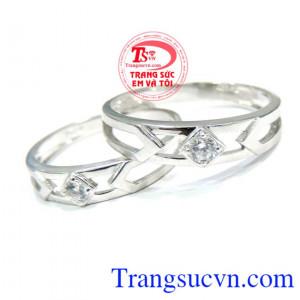 Nhẫn cưới 18k trắng hạnh phúc