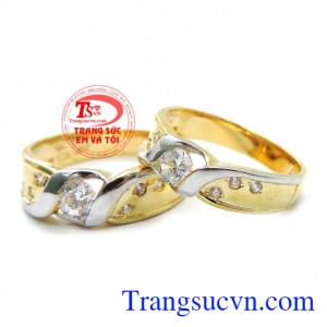 Nhẫn cưới tình yêu hạnh phúc vàng tây chất lượng đảm bảo uy tín
