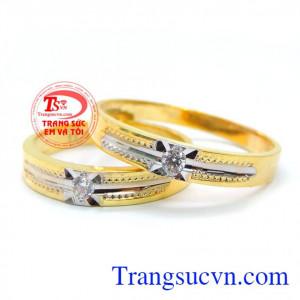 Đôi nhẫn cưới đính đá tình yêu bền đẹp