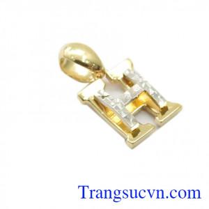 Mặt dây chuyền vàng chữ H nhập khẩu