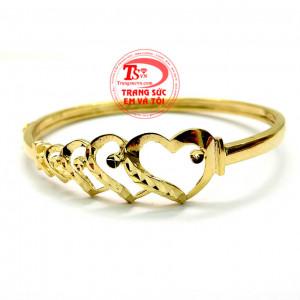 Vòng tay vàng trái tim kép