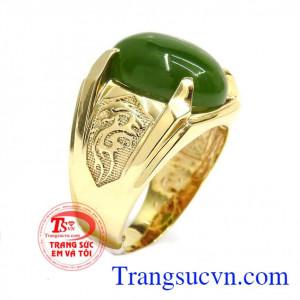 Nhẫn vàng 14k Nephrite thiên nhiên