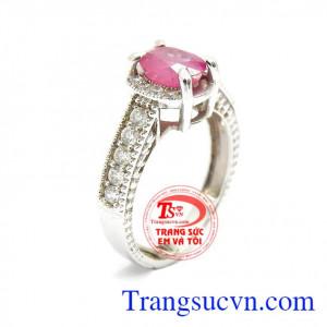 Nhẫn nữ đá ruby thiên nhiên