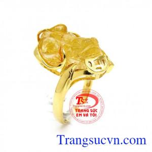 Nhẫn Tỳ Hưu tài lộc bọc vàng