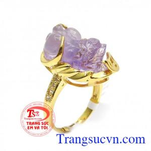 Nhẫn nữ Tỳ Hưu bọc vàng đẹp