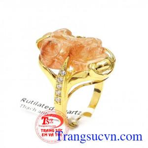 Nhẫn Tỳ Hưu bọc vàng đính đá