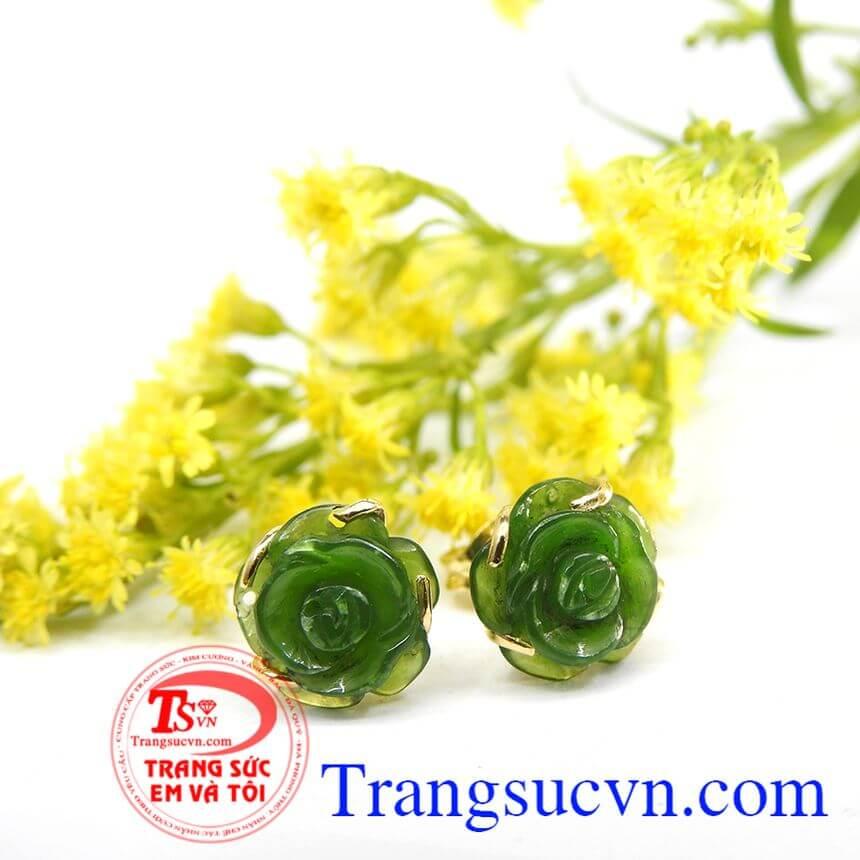 Sản phẩm đá ngọc bích thiên nhiên, bảo hành 6 tháng, giao hàng nhanh trên toàn quốc. Hoa tai hoa hồng nephrite