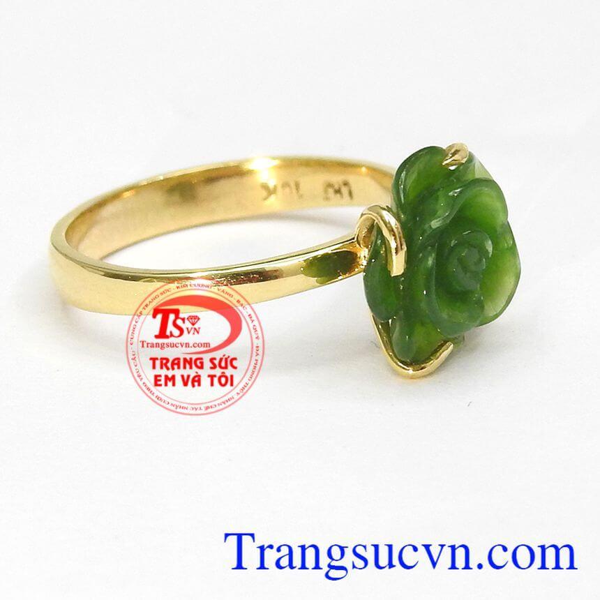 Nhẫn nữ vàng gắn đá quý nephrite thiên nhiên dành cho phái đẹp, đeo hợp thời trang và quý phái