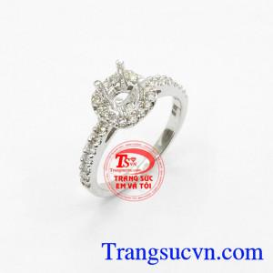 Vỏ Nhẫn Nữ Kim Cương Vàng trắng