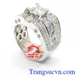 Nhẫn nam vàng trắng độc đáo