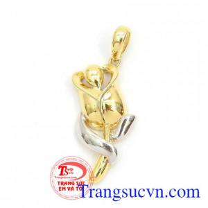 Mặt dây vàng 10k,Mặt Dây Hoa Hồng Nhập Hàn Quốc