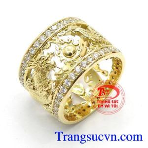 Nhẫn nam rồng vàng 18k độc đáo