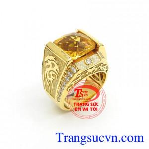 Nhẫn Nam Thạch Anh Vàng Cá Tính