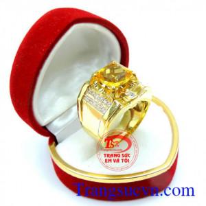 Nhẫn vàng nam thạch anh vàng