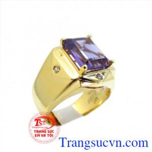 Nhẫn vàng 14k amethyst lịch lãm