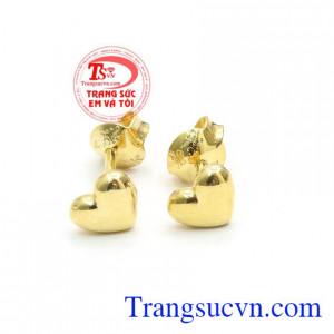 Hoa tai trái tim vàng