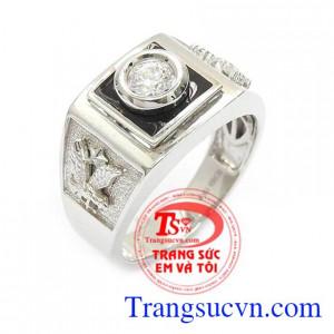 Nhẫn nam vàng trắng Hàn Quốc