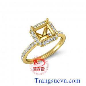 Ổ nhẫn vàng gằn kim cương thiên nhiên