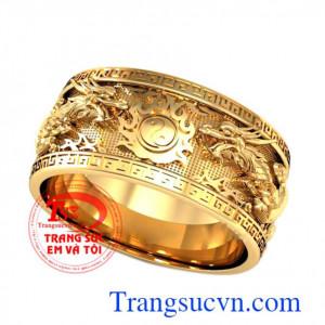 Nhẫn nam vàng rồng 3D nổi