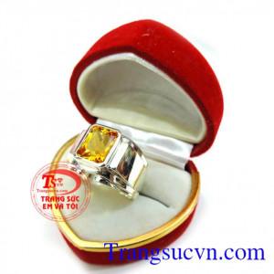 Nhẫn nam vàng trắng thạch anh vàng