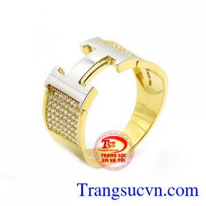Nhẫn nam chữ H vàng 18k