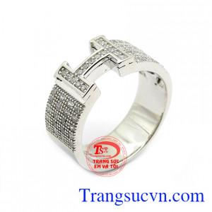 Nhẫn nam chữ H vàng trắng 18k