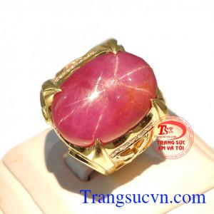 Nhẫn nam ruby cao cấp vàng 18k