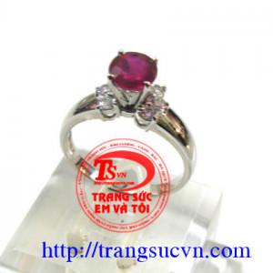 Nhẫn nữ Ruby vàng trắng