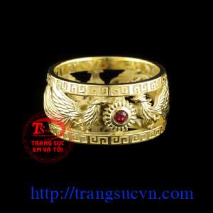 Nhẫn nam đẹp - rồng phượng chầu hồng ngọc