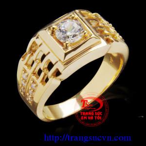 Nhẫn nam đá cao cấp vàng 14K