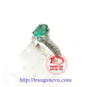 Emerald nhẫn nữ -Vàng trắng