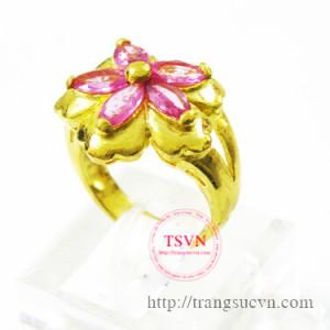 Nhẫn saphire hồng thiên nhiên vàng tây 18k