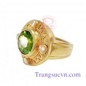 Nhẫn nữ to đá peridot
