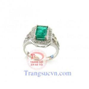 Nhẫn nữ vàng trắng Emerald