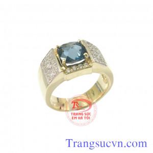 Nhẫn đá topaz xanh