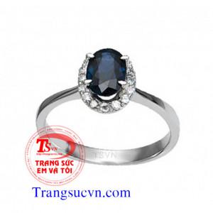 Nhẫn nữ đá quý sapphire xanh thiên nhiên